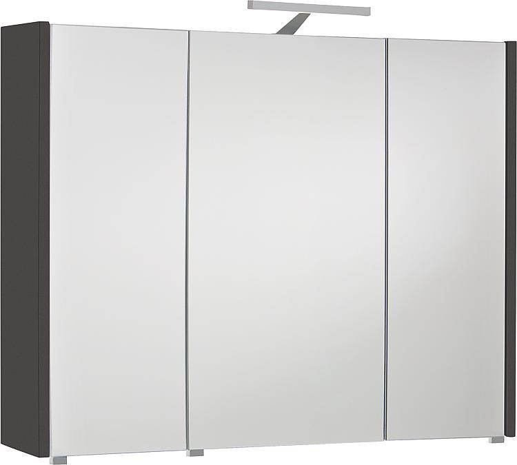 Spiegelschrank mit Beleuchtung anthrazit Hochglanz 3 Türen 950x750x188mm