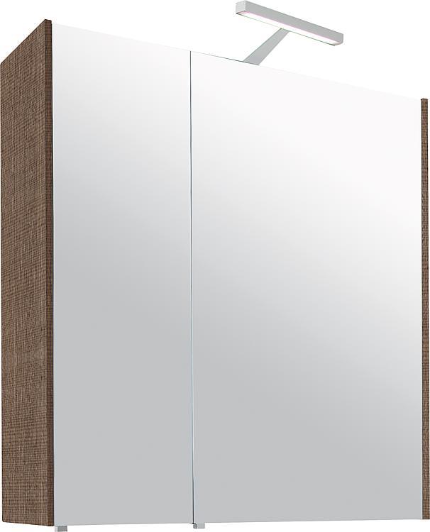 Spiegelschrank mit Beleuchtung Tranche braun 2 Türen 700x750x188mm