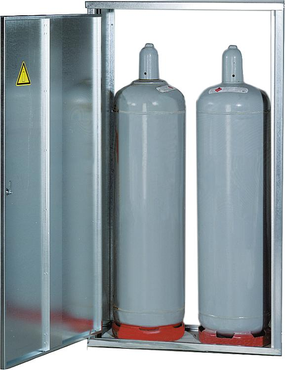 2-Flaschenschrank für 33Kg Flaschen mit Rückwand BxHxT 1485x835x400 mm