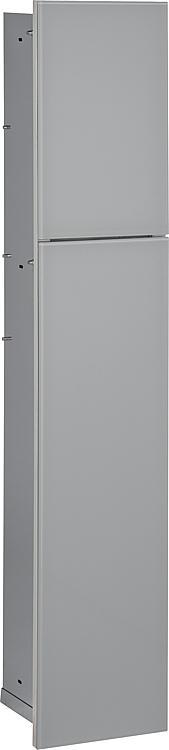 WC-Wandcontainer,2 graue Glas- türen,1Papierrollenfach+2Fächer, Anschlag links,180x975mm