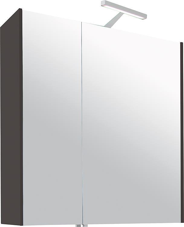 Spiegelschrank mit Beleuchtung anthrazit Hochglanz 2 Türen 700x750x188mm