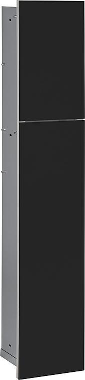 WC-Wandcontainer,2 schwarze Glas- türen,1 Papierrollenfach +2 Fächer, BxH:180x975mm, Anschlag links