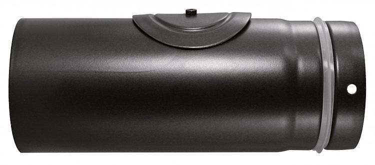 Kaminofen Zubehör Pellet-Rohr Ø 100 mm, Schwarz emailliert L = 250 mm mit Revisionsöffnung