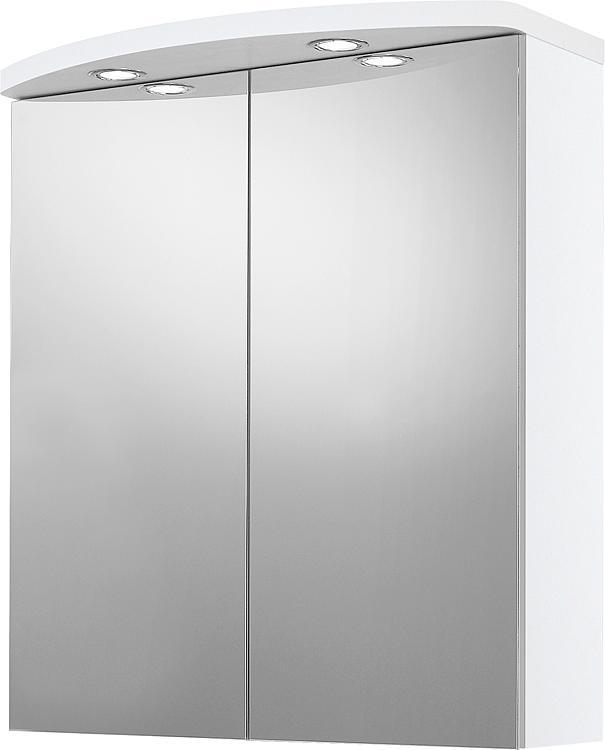 Spiegelschrank mit Beleuchtung weiss Hochglanz 2 Türen 700x798x205/340