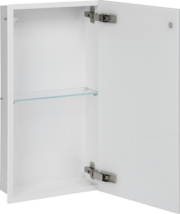 Wandcontainer, 1 weisse Glastür 2 Fächer, Tiefe 100mm, BxH:323x625mm