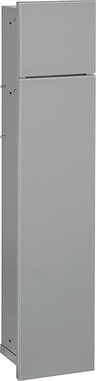 WC-Wandcontainer,2 graue Glas- türen,1 Papierrollenfach+1 Fach Anschlag rechts,180x825mm