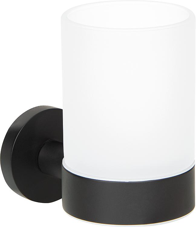 Glashalter Eldrid nero Messing, schwarz, Glas satiniert inkl. Befestigung