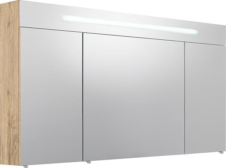 Spiegelschrank m. bel.Blende 3 Türen, Asteiche, 1200x740x160mm