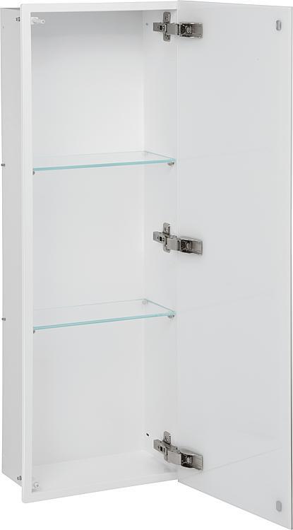 Wandcontainer, 1 weisse Glastür 3 Fächer, Tiefe 150mm, BxH:323x925mm