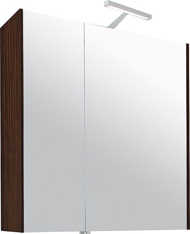 Spiegelschrank mit Beleuchtung Lärche braun 2 Türen 700x750x188mm
