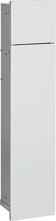WC-Wandcontainer, 2 weisse Glas- türen, 1 Papierrollenfach + 1 fach, BxH:180x825mm, Anschlag rechts