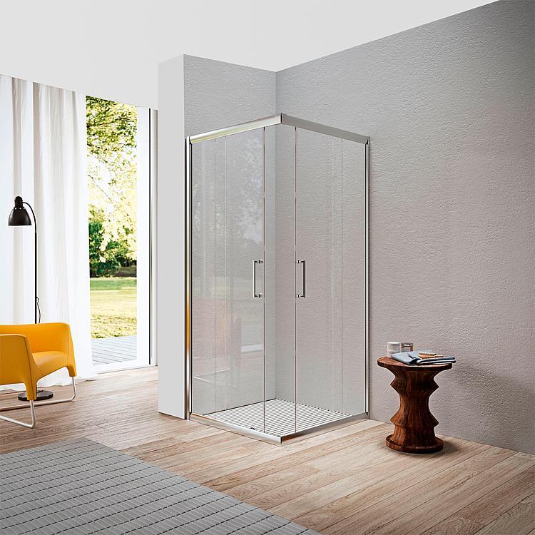 Eck-Duschkabine Elion 2.0 765-790 x 865-890mm,Höhe 1950mm 6mm Glas, Aluprofile glänzend