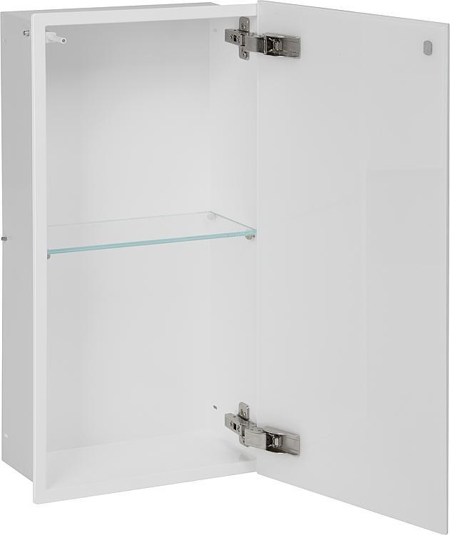 Wandcontainer, 1 weisse Glastür 2 Fächer, Tiefe 150mm, BxH:323x625mm