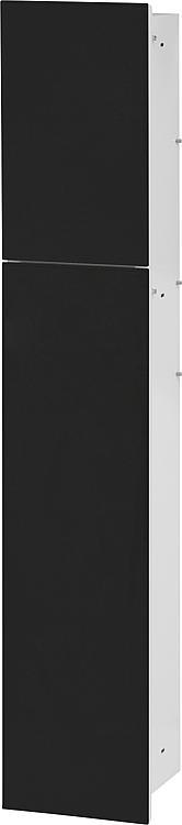 WC-Wandcontainer,innen weiss 2 schwarzen Glastüren, 2 Leerfächer BxH:180x975mm, Anschlag rechts