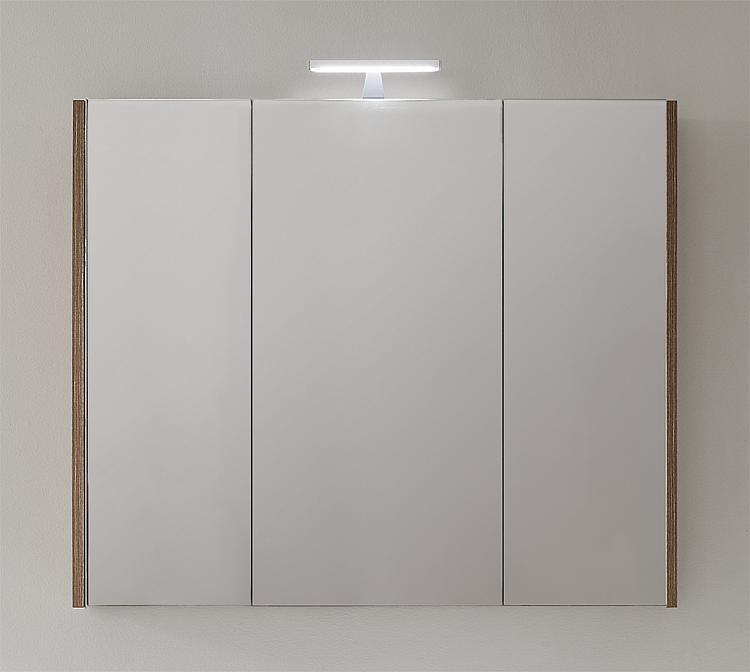 Spiegelschrank mit Beleuchtung Tranche braun 3 Türen 950x750x188mm