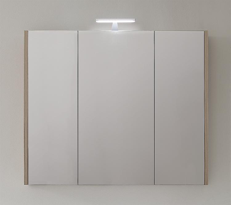 Spiegelschrank mit Beleuchtung Lärche hellbraun 3 Türen 950x750x188mm