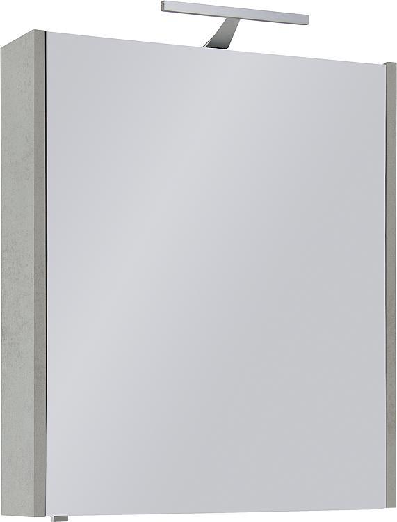Spiegelschrank mit Beleuchtung Eiche grau Steindekor 1 Türe 600x750x188mm