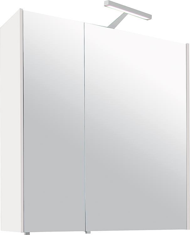 Spiegelschrank mit Beleuchtung weiss Hochglanz 2 Türen 700x750x188mm