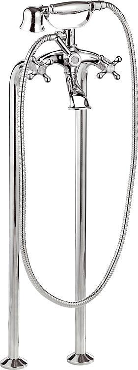 2-Griffwannenmischer boden. Set Retro, verchromt, mit Handbrause Ausladung 125 mm *BG*