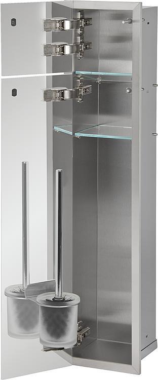 WC-Wandcontainer,2befliesbare Türen,1Papierrollenfach,2Leerf., Anschlag links,185x975mm