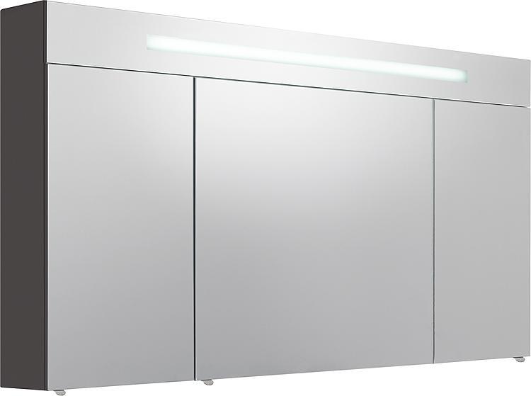 Spiegelschrank m. bel. Blende anthrazit Hochglanz 3 Türen 1200x740x160mm