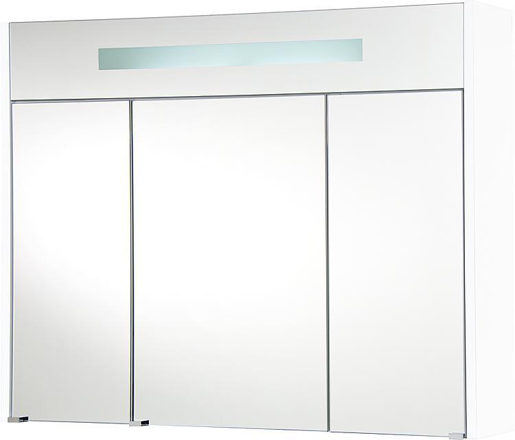 Spiegelschrank m. bel. Blende weiss Hochglanz 3 Türen 950x750x188mm