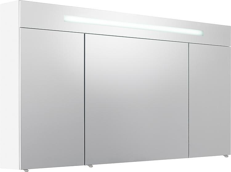 Spiegelschrank m. bel. Blende weiss matt 3 Türen 1200x740x160mm
