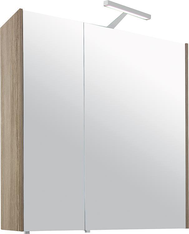 Spiegelschrank mit Beleuchtung Lärche hellbraun 2 Türen 700x750x188mm