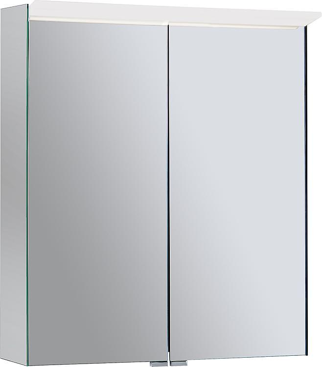 Spiegelschrank Burgbad Suri 1 mit LED-Aufsatzleuchte, 2 Türen, 606x670x200mm