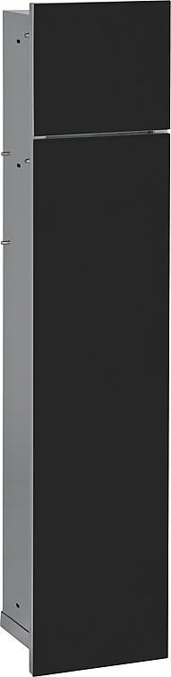 WC-Wandcontainer,2 schwarze Glas- türen,1 Papierrollenfach + 1 fach, BxH:180x825mm, Anschlag links