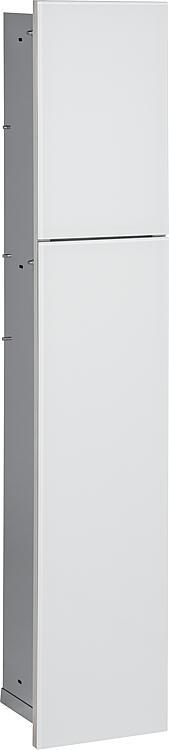WC-Wandcontainer, 2 weisse Glas- türen, 1 Papierrollenfach + 2 Fächer, BxH:180x975mm, Anschlag rechts