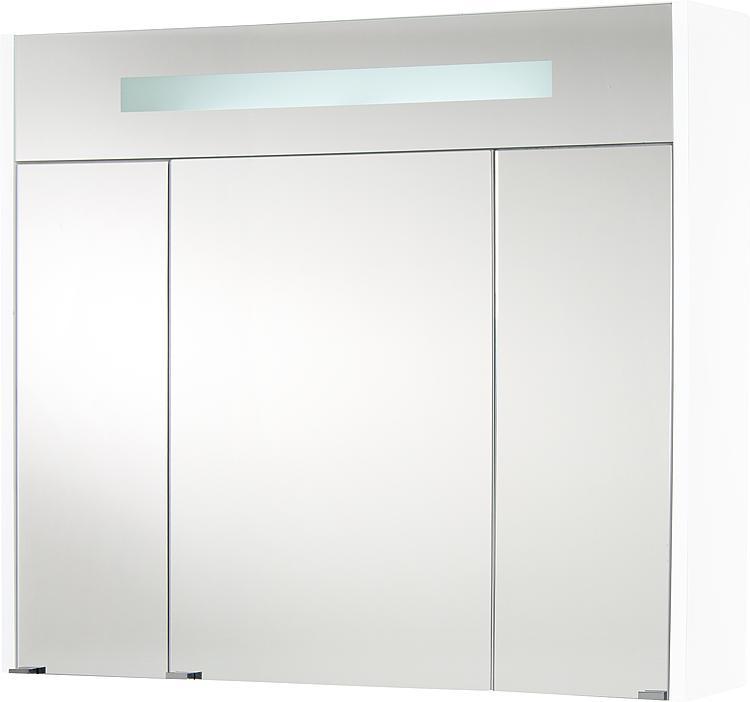 Spiegelschrank m. bel. Blende weiss Hochglanz 3 Türen 850x750x188mm